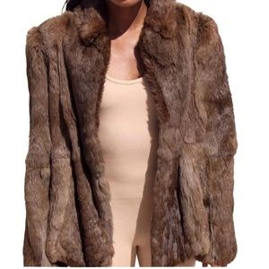 Brown vintage real rabbit fur coat jacket